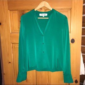 DVF long sleeve button front silk shirt